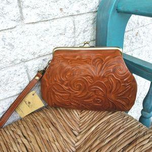 Patricia Nash Cognac Burnished Tooled Leather Bag